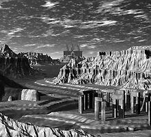 B&W  Grand Canyon and Quarry by Sazzart