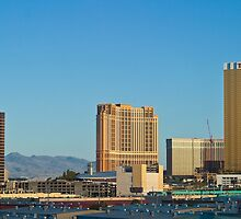 The Trump, Wynn Las Vegas and Palazzo at sunset by Henry Plumley