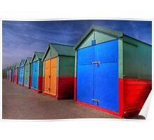 The Painted Beach Huts - Brighton - England Poster