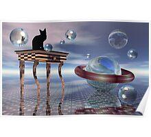 Kitty meets an alien cat Poster