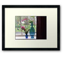 Bouquets in Blue Vases Framed Print