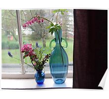 Bouquets in Blue Vases Poster