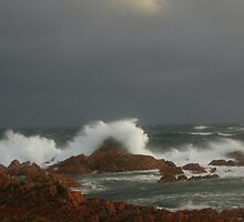 Stormy seas at West Point ,  West Coast Tasmania , Australia by phillip wise