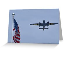 "B-25 Mitchell takes off ""next"" to the flag Greeting Card"