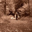 walking the dog - tyrrels wood, norfolk by Adam North