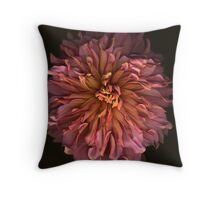 Coral-Colored Dahlia Throw Pillow