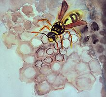 Wasp building her home by Heidi Mooney-Hill