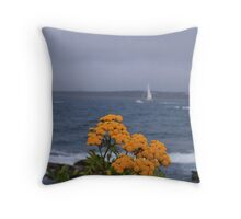 Yellow flowers and sailing yacht Throw Pillow