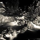Cargill Falls, black and white and at night by Robert Dion