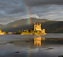 Rainbow over Eilean Donan Castle - highlands - Scotland by Mathew Roberts