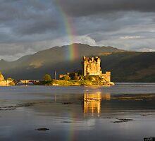Rainbow over Eilean Donan Castle - highlands - Scotland by Mathew Roberts