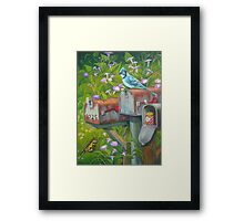 Rural Mailboxes, Bird and Butterfly Framed Print