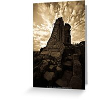Mow Cop Castle in Sepia Greeting Card
