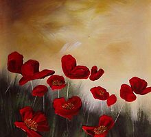 Red Poppies, Yellow Sky by Cherie Roe Dirksen