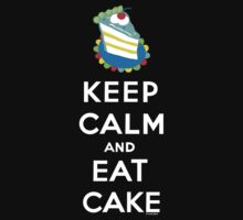 Keep Calm and Eat Cake - on black by Andi Bird