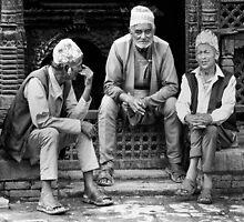 Street conversation. Bhaktapur, Nepal by John Callaway