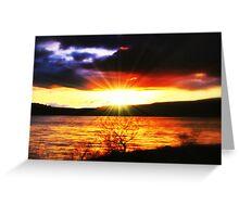 Sunset Over Carron Valley Reservoir. Greeting Card