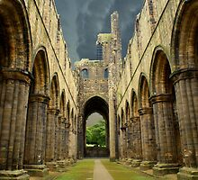 Nave & Chancel of Kirkstall Abbey by Sandra Cockayne