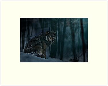Timberwolf in Moonlight by Michael Cummings