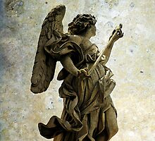Angel statue on Ponte Sant'Angelo, Rome  by buttonpresser