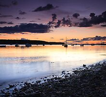 Dusk across the bay, Findhorn by Christopher Thomson