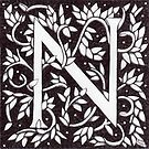 William Morris Inspired Letter N (Ebay Listed) by Donna Huntriss