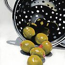 Olives in a Colander by ria hills