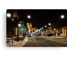 Christmas Light Around Downtown Des Moines Canvas Print