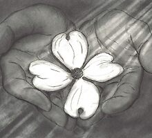 The Hands of Christ with Dogwood Flower by Drawing