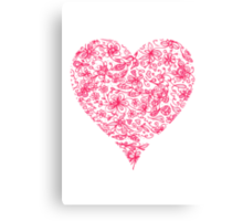 Pink Flower Heart Canvas Print