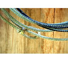 Rope Wood - Lasso rope hangs on the barn wall Photographic Print