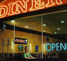 The Old Diner - City Night Life oil painting by LindaAppleArt