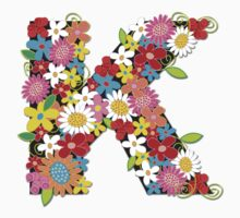 Spring Flowers Alphabet K T-shirt Kids Clothes