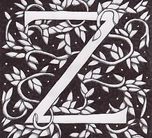 "Art Nouveau ""Z"" (William Morris Inspired) by Donna Huntriss"