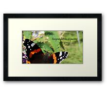 Congrats on passing exams card-Red Admiral Butterfly Framed Print
