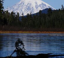 HUGO LAKE WITH A GREAT VIEW OF MOUNT RAINIER IN WASHINGTON STATE by Michael Beers