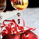 Two fluted wineglasses  with two crimson  hearts B by pogomcl