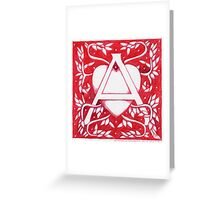 Red Heart Letter A Greeting Card