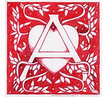 Red Heart Letter A Photographic Print