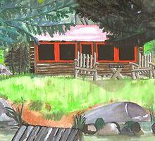 log cabin by Leeanne Middleton