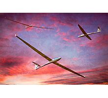 Three Gliders Over The Devil's Dyke At Sunset Photographic Print