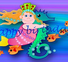 Mermaid Happy Birthday card  by walstraasart
