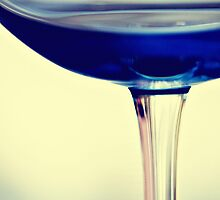 Stem - Abstract Blue and White Wine Glass by ameliakayphotog