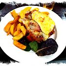 Aussie Parma with bacon, caramelized onion and BBQ sauce with a fried egg  by parmaman