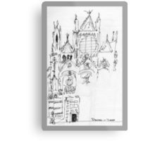 Italy- An early Pen and Ink of the Cathedral Facade in Siena Metal Print