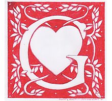 Red Heart Letter G Photographic Print