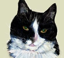 "'Keira"" Black and White Tabby Cat by Trish Loader"