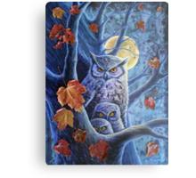 Harvest Moon Owls Metal Print