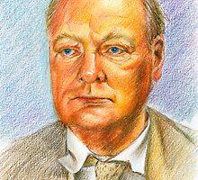 """"""" Uno scrittore al fronte"""" Winston Churchill portrait by Francesca Romana Brogani"""