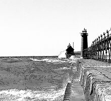 Rough Water at the Lighthouse by JKunnen